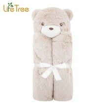LifeTree Cartoon Bear Baby Blanket Cute Animals Newborn Soft Fleece Blanket for Infant Gift