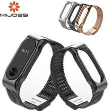 Mijobs mi banda 2 pulseira pulseira para xiaomi mi banda 2 pulseira de pulso mi band2 banda inteligente miband 2 pulseira preta ímã metal