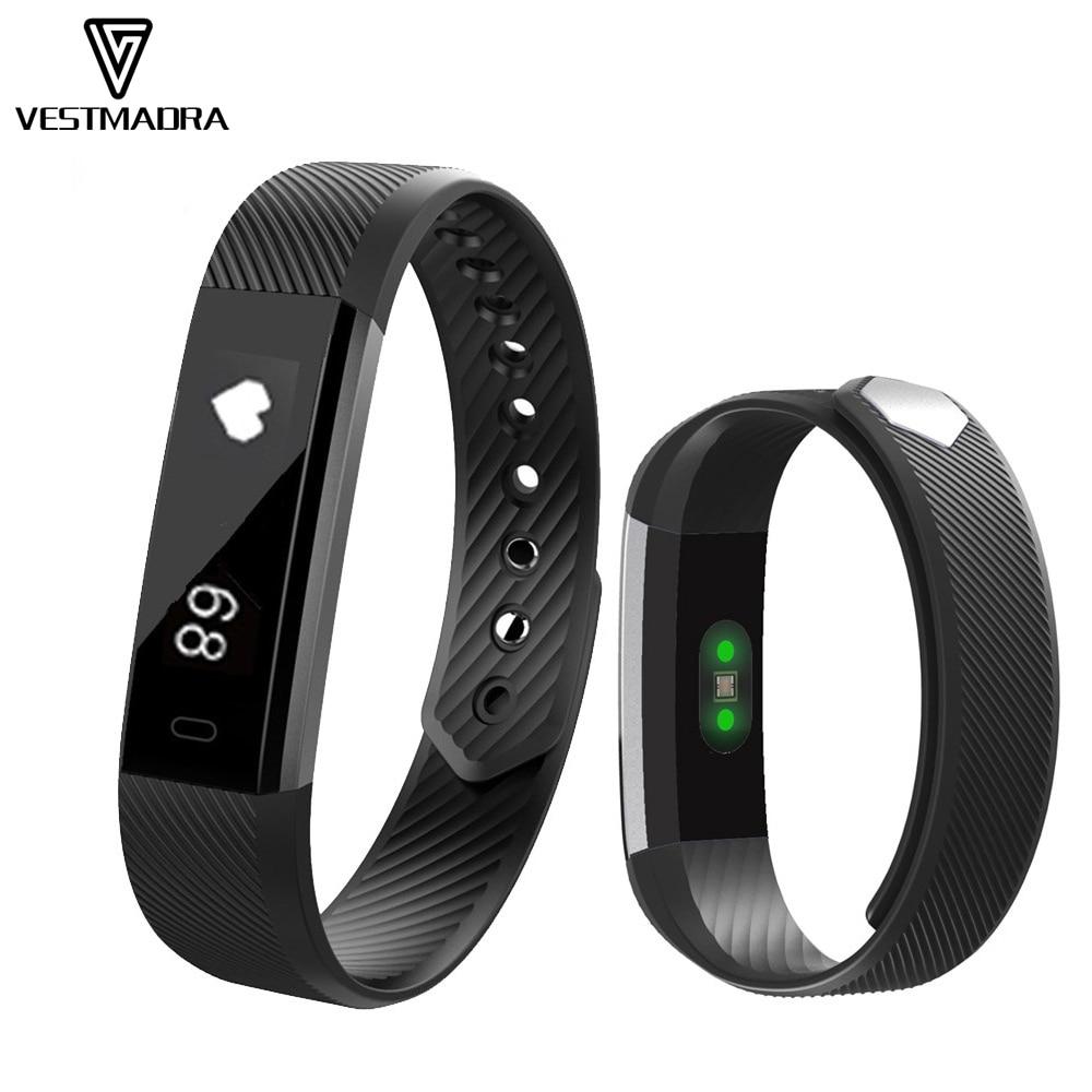 VESTMADRA Smart Band ID115 HR Bluetooth Wristband Heart Rate Monitor Fitness Tracker Pedometer Anti Lost Bracelet