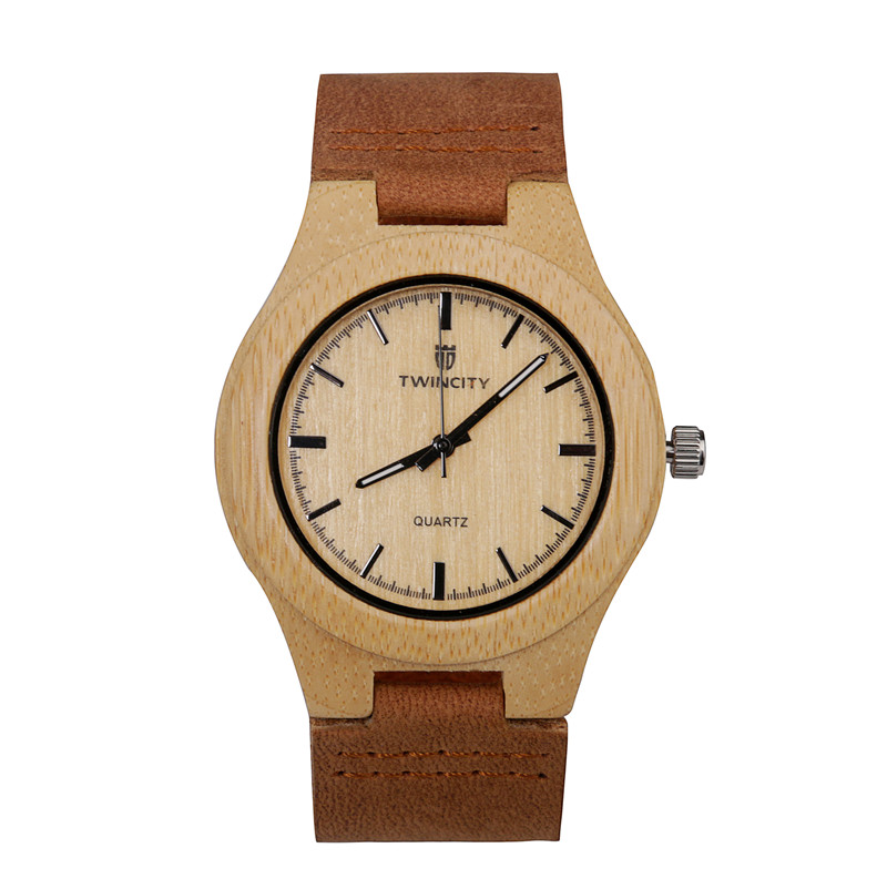 TWINCITY Novel cool Bamboo Wooden quartz Watch Men stylish Relogio Masculino Men's Quartz leather band Wristwatch