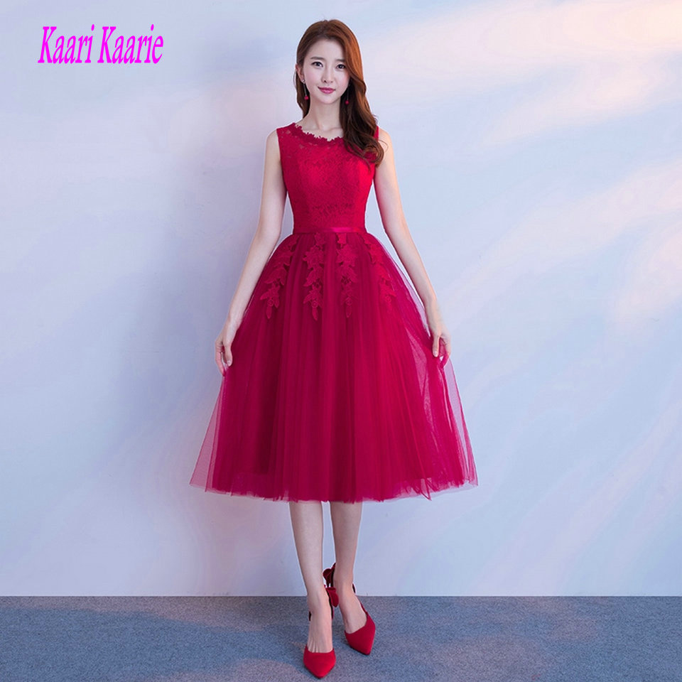 Fashion Burgundy   Prom     Dresses   Short 2019 New Sexy   Prom     Dress   Scoop Tulle Appliques Lace Up Knee-Length Women Party   Dress   Evening