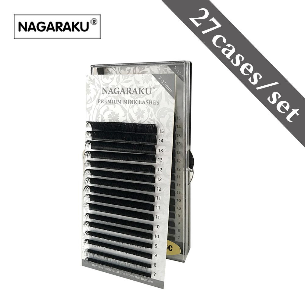 NAGARAKU 27 cases wholesale16rows case 7 15mm mix natural synthetic mink individual eyelash extension makeup cilia