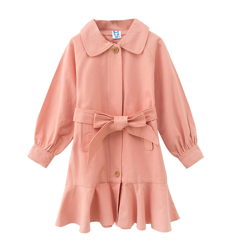 Autumn Winter Big Girls Coat Girls Outerwear Long Sleeve Cotton Single-breasted Coat for Children Long Style Clothing 6y-14y sophisticated style lapel ripple buttons long sleeve coat for women