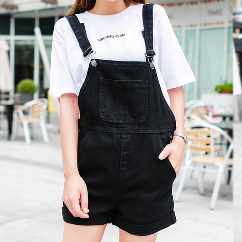 Denim Shorts Overalls Stretch-Fabric Ripped Jeans Sexy Black High-Waist Korean Plus-Size title=