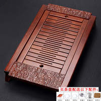 Kungfu tea set accessories drawer type household drain tea tray solid wood large small storage water tray tea table