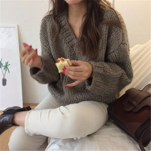 Image 4 - RUGOD Casual winter women clothes Fashion V neck long sleeve pullover sweater office lady pullovers jumper pull femme hiver