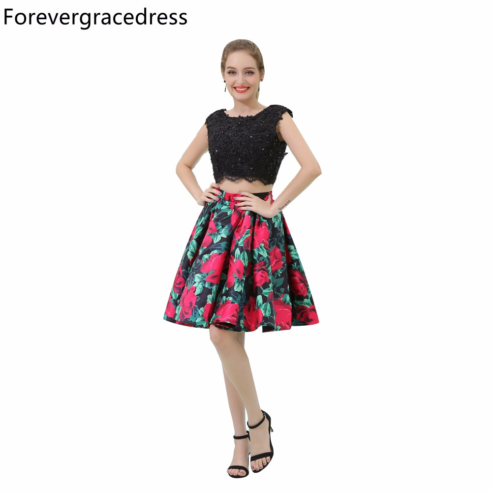Forevergracedress Real Pictures Floral Print   Cocktail     Dress   Two Pieces Knee Length Short Homecoming Party Gown Plus Size