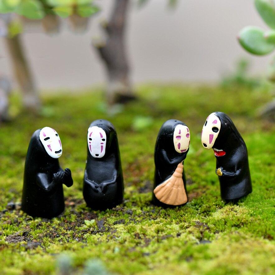 ZOCDOU 1 Piece Japan Cartoon No Face Man People Mask Boy Small Statue Figurine Little Crafts Ornament Miniatures Bar Home Decor