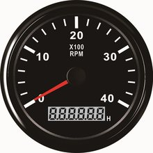 85mm Tachometer 4000RPM With Hourmeter Truck Car Boat Tacho RPM Meter Gauge REV Counter With Red Backlight(China)