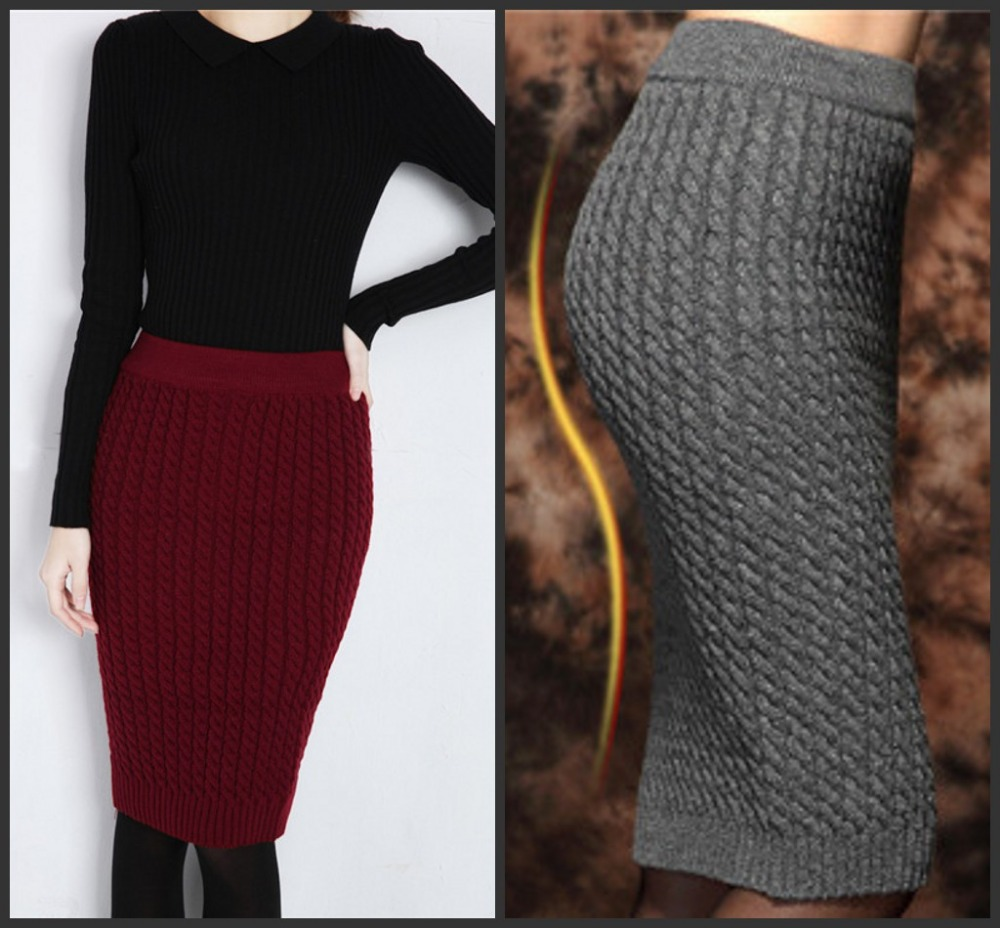 d78e9dd9e6 Autumn&Winter Casual Womens High Waist Knee length Cable Knitted Long Wool Pencil  Skirts Bust Tube Skirt 2014 Free Shipping-in Skirts from Women's Clothing  ...