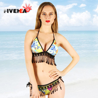 MAMAMIA Women Bikini Set Two Pieces Dot Print Swimwear Halter Tassels Tankini Biquini Ethnic Print Strappy