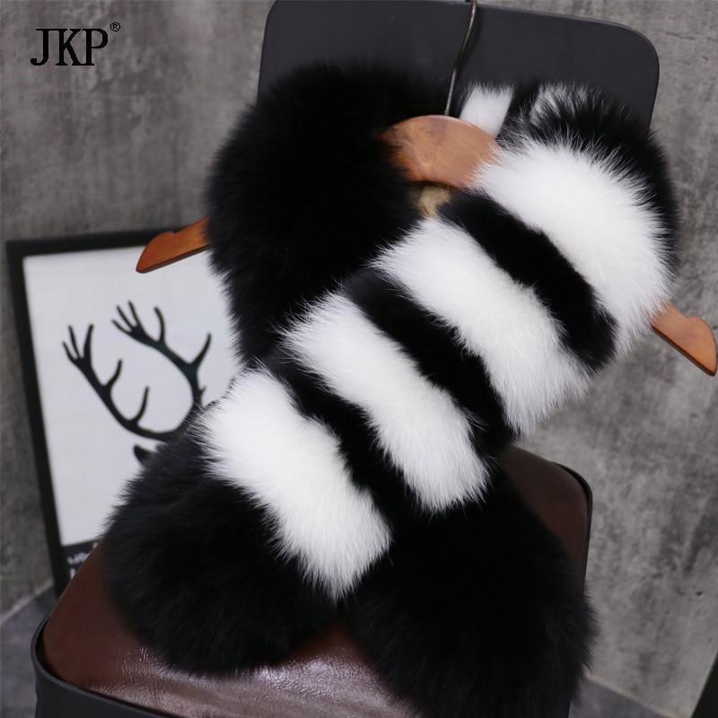 Women's Winter Genuine Fox fur Collar Fashion Scarf Color stitching Soft Fox fur Collar Real Fur Scarves - 6