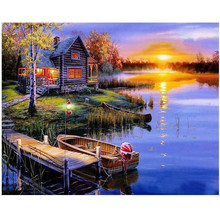 WEEN Paint by Numbers Kits for Adults DIY Digital oil painting by numbers Modern Wall Art Picture 40X50CM-Lakeside Sunset