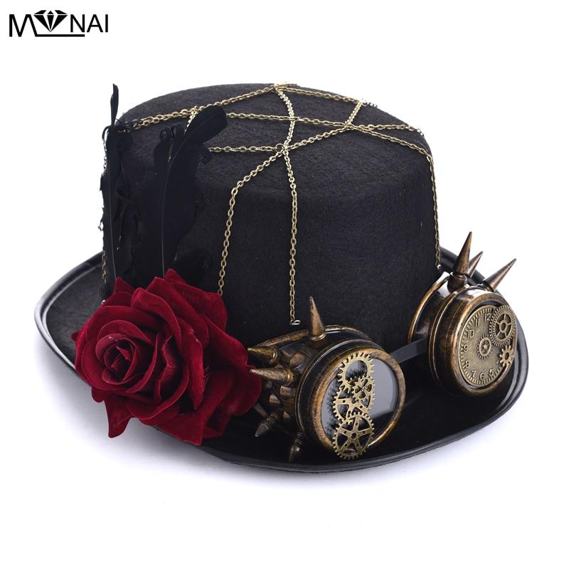 Handgjorda Cosplay Hat Vintage Women Steampunk Rose Top Mössor Med - Maskeradkläder och utklädnad - Foto 2