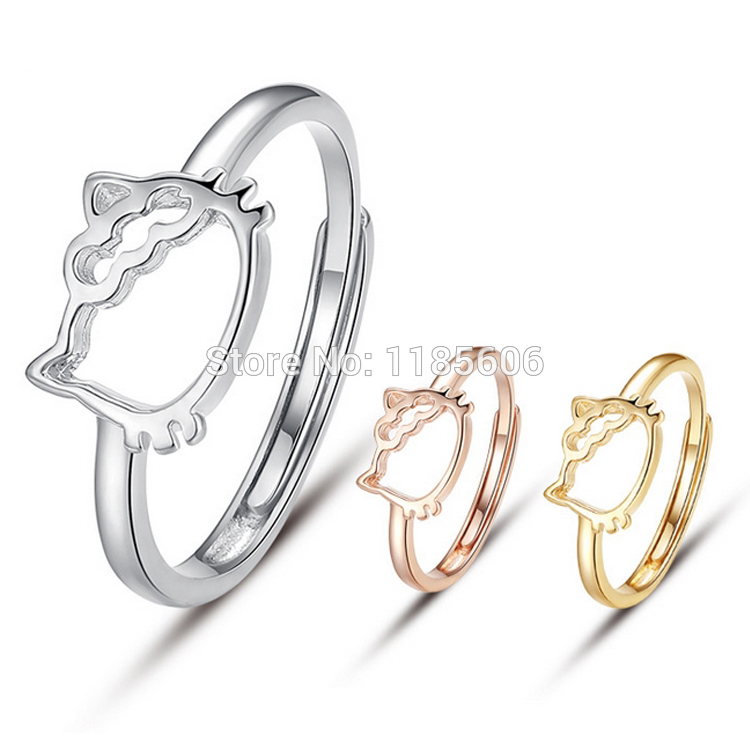 925 Sterling Silver Ring For Woman Korean Style Cute Hello Kitty Fashion Ring Womens Tail Ring 3