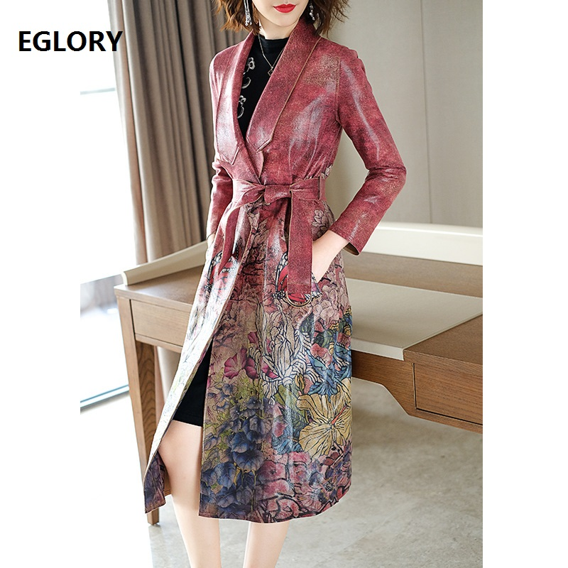 New Plus Size Coat   Trench   2018 Autumn Winter Casual Windbreaker Women Suede Leather Print Adjustable Belt Long Coat Overcoats
