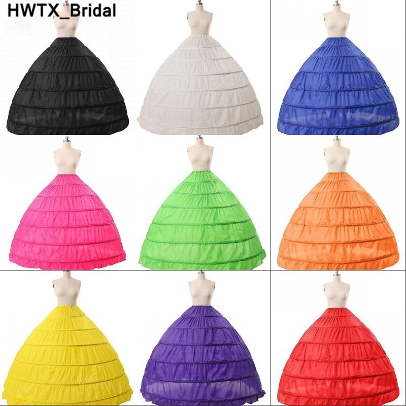 4128 Colorido Azul Rosa Crinoline 6 Hoop Enaguas Para Vestido De Baile Vestido Negro Accesorios De Boda Ropa Interior Para Vestido De Novia