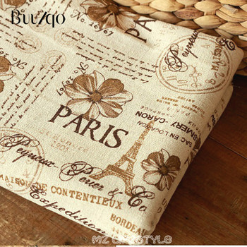 printed Paris tower cotton and linen blend fabric by meter DIY Zakka style pillow tablecloth tissue кружка zakka