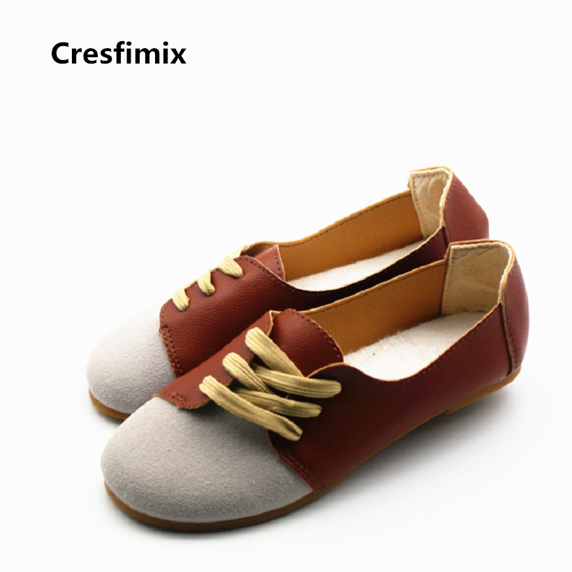 Cresfimix women casual pu leather spring & summer flat shoes with female retro brown lace up flats zapatos de mujer soft shoes cresfimix zapatos de mujer women casual spring