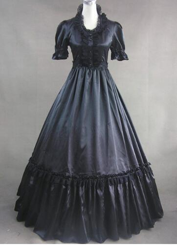 Peut être personnalisé 2015 rétro noir manches courtes Patchwork 18th siècle gothique victorien Lolita robe