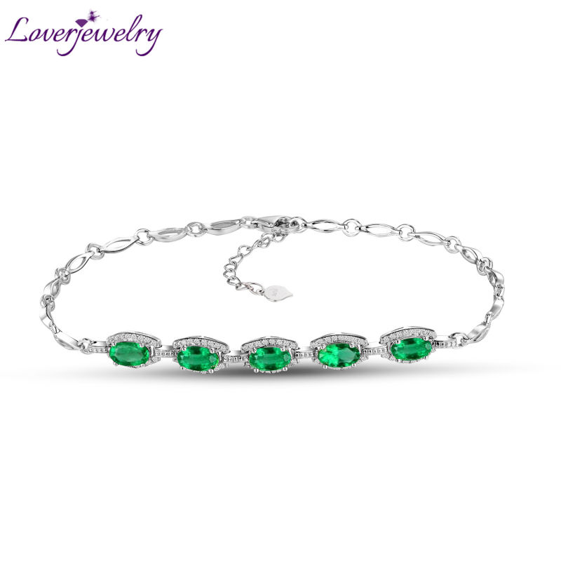 New! Natural Diamond Green Emerald Bracelet For Sale In 18Kt White Gold Oval 4x6mm Stone NA0036 цена