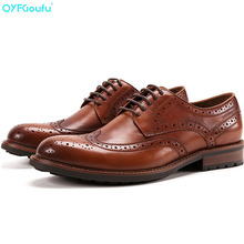 QYFCIOUFU 2019 New Men Formal Dress Shoes high quality brogue shoes men Wedding Office Handmade Genuine Cow Leather formal