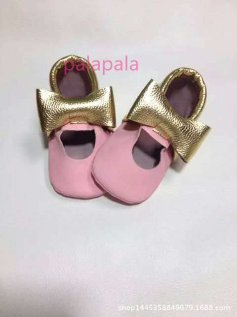 2017 best quality pink gold bow genuine Leather Baby Moccasins shoes child kid girl First Walkers fringe toddler