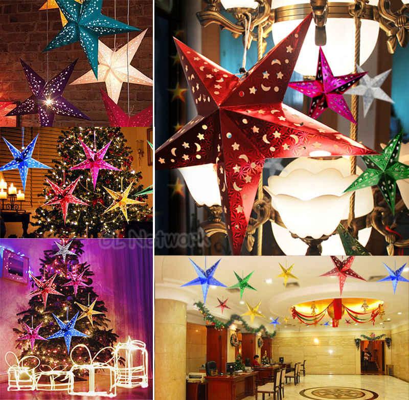 2017 Рождественская вечеринка Подвесная лампа в виде пятиконечной звезды тени Рождественская елка домашний декор декорации звезда Рождественский кулон