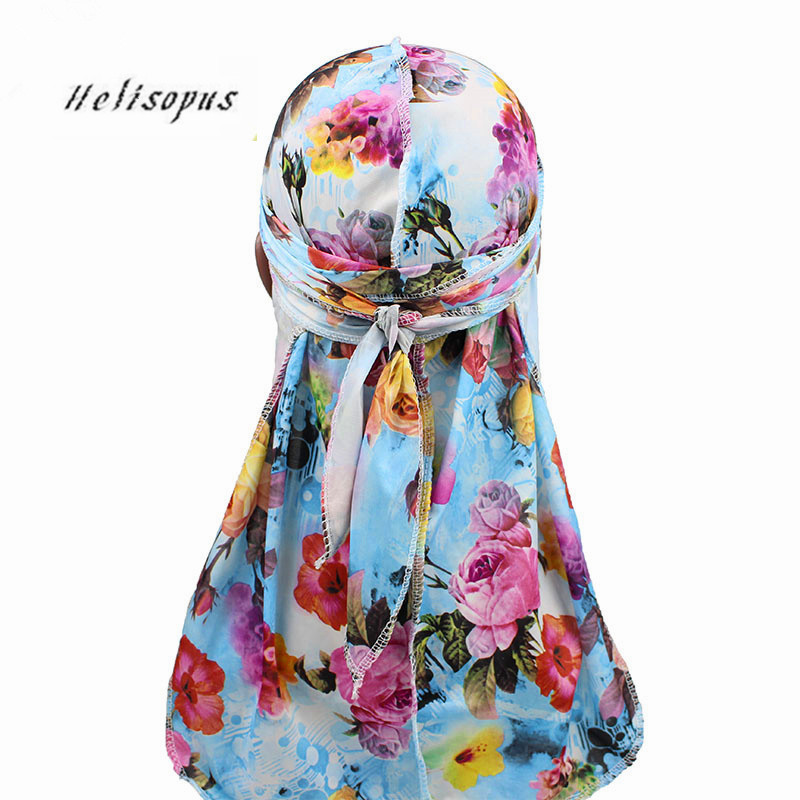 Helisopus New Print Silky Bandanas Long Tail Pirate Hat Turban Silk Floral Caps Durags Unisex Headwear Hair Accessories