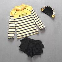 Duas peças Meninas Swimwear Praia Maiô UPF50 Proteção UV Protetor Solar Maiô de Natação Ternos Listras Amarelas Crianças Maiôs