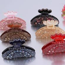 1PC Crystal Rhinestone Flower Hair Claws Plastic Large Clamp Clips Grip Gripper For Women Girls Make Up Crab Accessories
