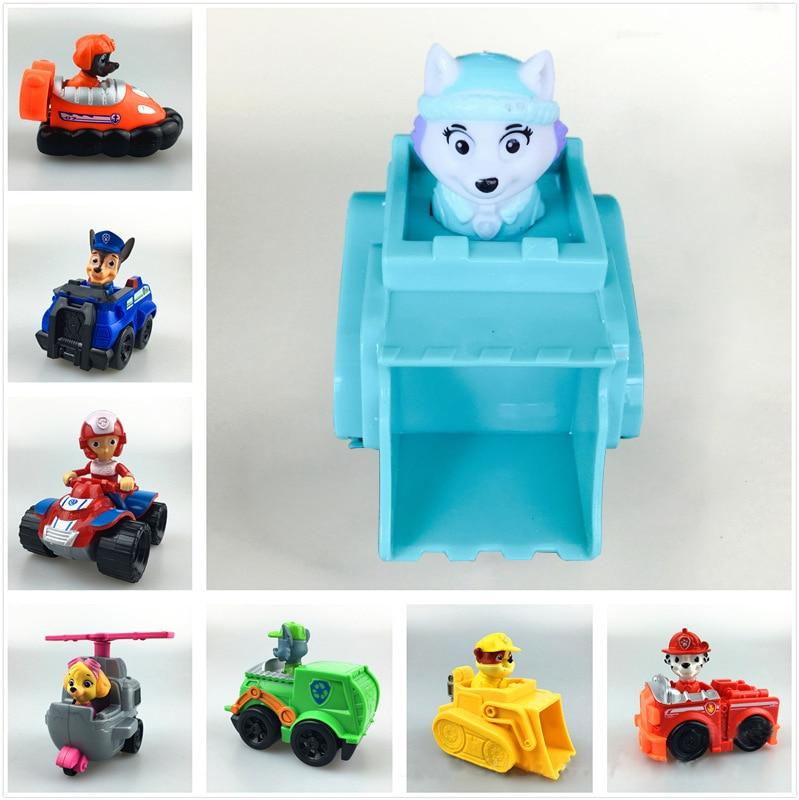 ФОТО 8Pcs Set Canine Patrol Toys Russian Anime Doll Patrol Puppy Car Brinquedos 8CM Patrulla Canina Pvc Action Figures Kids Hot Toys
