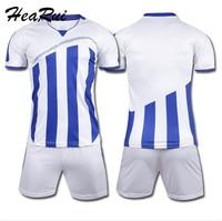 Men Striped Soccer Jerseys 2016 2017 pro Soccer Uniform survetement Short Sleeved Football Set maillot de foot Customize Logo