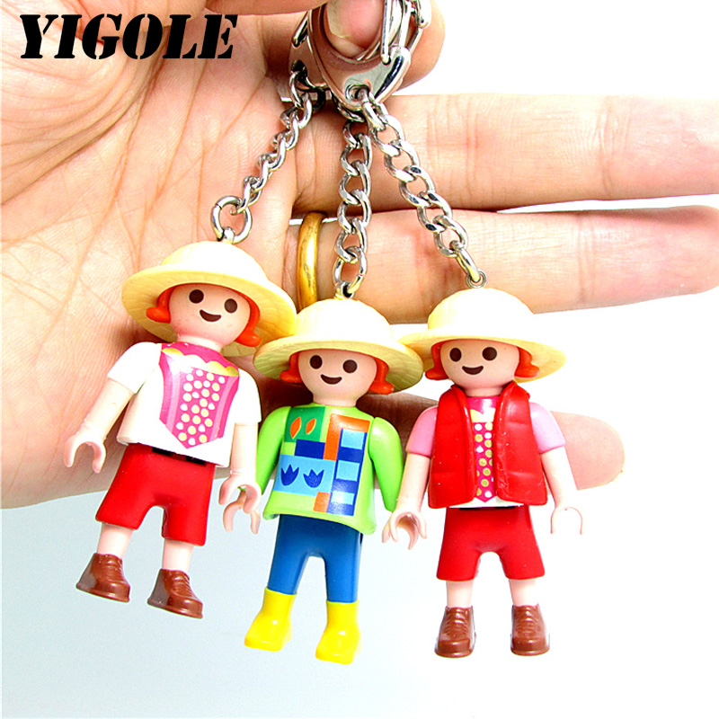 Single One Sale Randomly Sent Original Playmobil 5cm Key Chain Action Figures Kids Best Toys Gift
