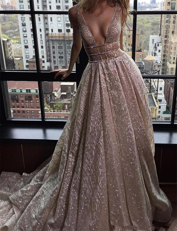 Backless Robe De Soiree 2019 A-line Deep V-neck Sequins See Through Sexy Long   Prom     Dresses     Prom   Gown Evening   Dresses