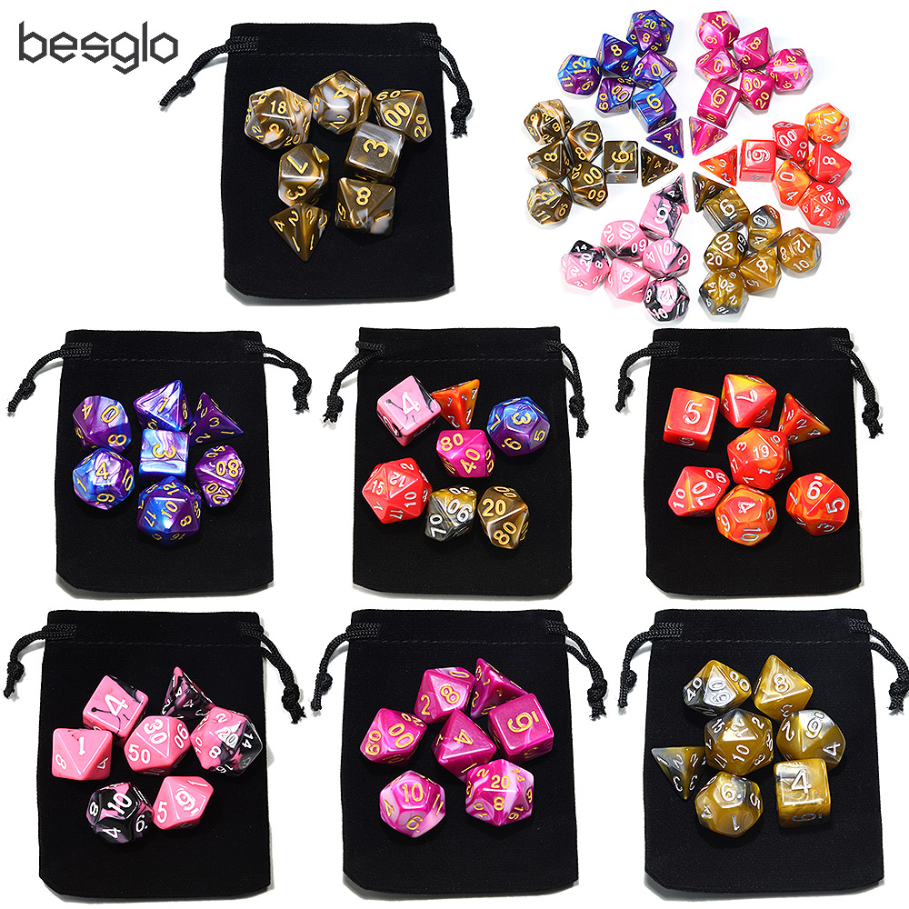 New Arrival 2018 7-Die Double Color Acrylic Dice With Drawstring Pouch For Dice Games( 7 Colors For Options)