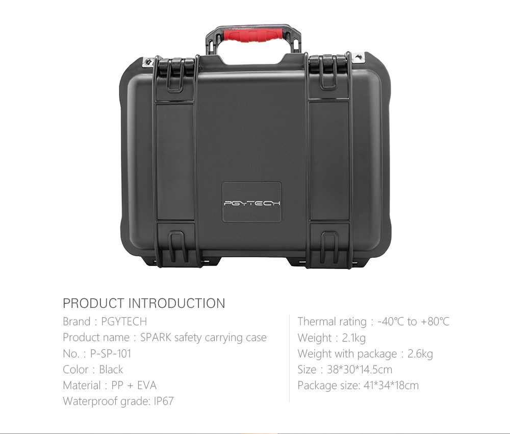 PGYTECH safety carrying case for Spark Camera Waterproof Hard EVA foam Equipment Carrying maritime safety