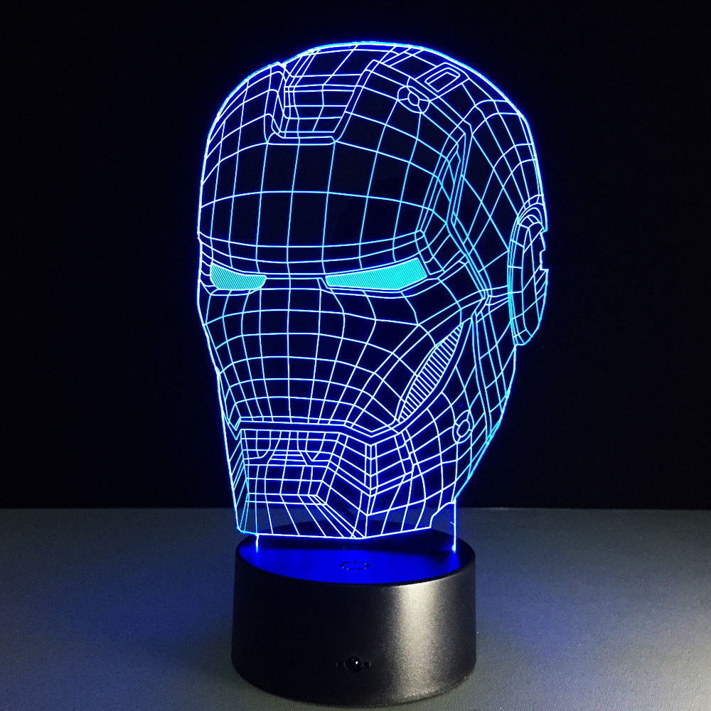 3D Light Night Illusion Iron Man Mask LED Table Lamp For Star Wars Black knight 3D Spider Night Led Lighting Table lamps For Kid free shipping 1piece new arrive marvel anti hero deadpool figure light handmade 3d bulbing illusion lamp led mood light for kid