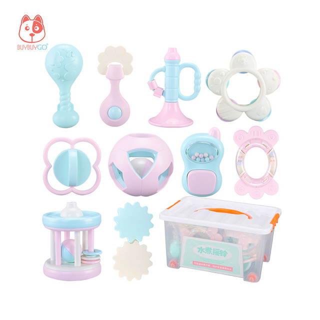Buybuygo 10pcs Baby Rattles Educational Baby Toys 3 Months Teether