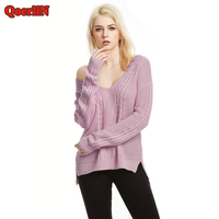 QoerliN 6 Colors V Neck Solid Tops Sweater Women Spring Autumn 2018 New Arrivals Long Sleeve