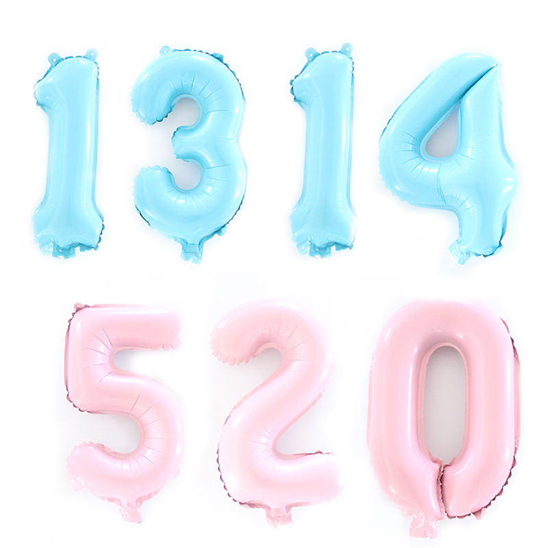 16inch Light Pink Blue Slim Number Foil Balloons Helium Ballons Birthday Party Wedding Decor Air Baloons Event Party Supplies