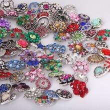 Random 50pcs/lot watches women charm bracelet&bangle Metal 18mm snap button jewelry lots of crystal button