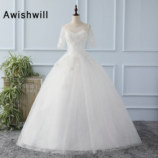 Customized Applique Beaded Half Sleeve Lace Up Back Wedding Dresses ...