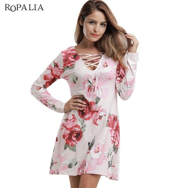 c0095e5aeca8d0 Autumn Women Casual Mini Dress Long Sleeve Print Cross Collar Sexy Pleated  Dresses Teenage Girl Pink