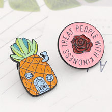 3eb598af Pineapple House Brooch Cartoon Pins Treat People With Kindness Rose Flower  Brooches Enamel Pin Denim Hat Badge Family Kid Gifts