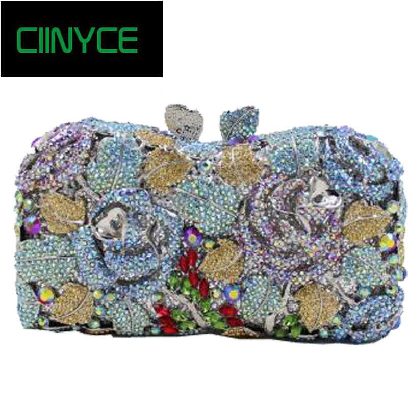 Evening Bags Ladies Wedding Party Bag Crystal Flowers Gold Handbag Shoulder Dinner Clutch Women Luxury Diamonds Lady Purses 2017 new crystal women evening bags luxury diamonds bride wedding party dinner bag handbag handbags purses ladies day clutches