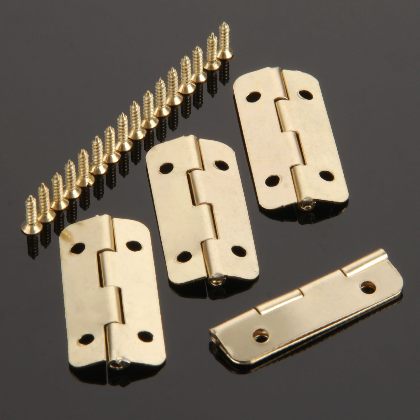 4Pcs 37mmx17mm Gold Furniture Hinges for Box Door Butt Decorative Small Hinge for Cabinet Drawer Furniture Hardware with Screws 2pcs 90 degree concealed hinges cabinet cupboard furniture hinges bridge shaped door hinge with screws diy hardware tools mayitr