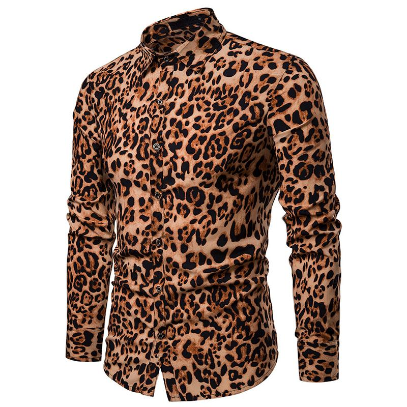 Fashion Leopard Mens Shirts Stage Casual Dress Blouse Clothing Red Summer