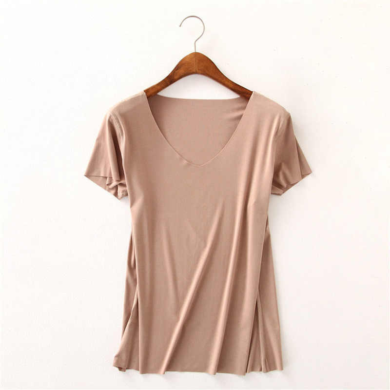 Women Essential T Shirt Basic Short Sleeve V Neck Tops Tees Solid Color Unfinished Viscose Stretch Top