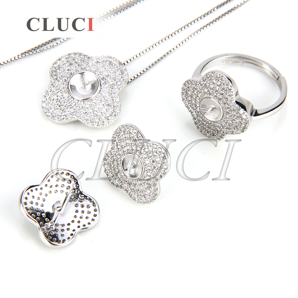 CLUCI Shining Flower shape 925 sterling silver set fittings, pendant fitting, ring fitting and 1 pair of earring fittings pair of stylish flower shape and lace embellished knitted boot cuffs for women